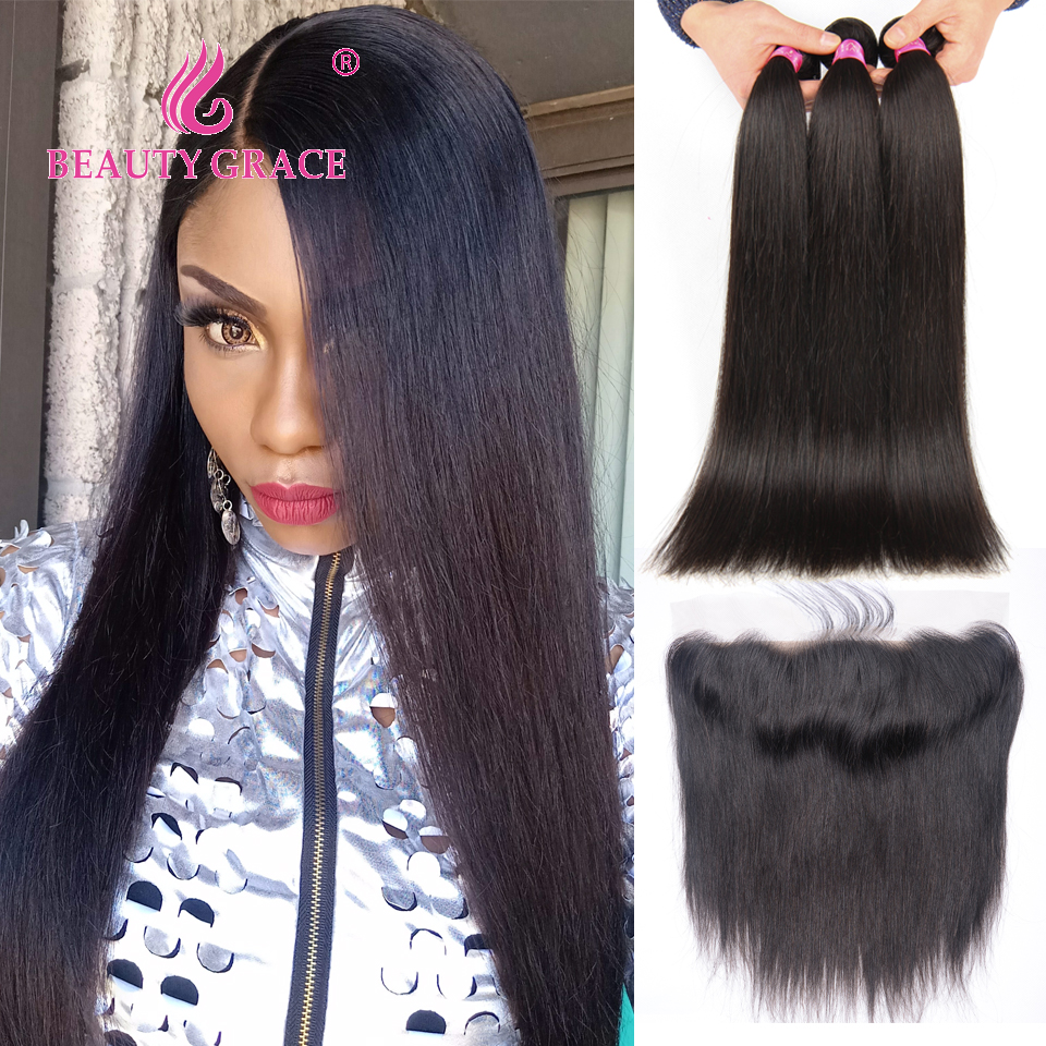 Beauty Grace Brasilian Straight Human Hair Weave 3 Bundles With Lace - Menneskehår (sort)