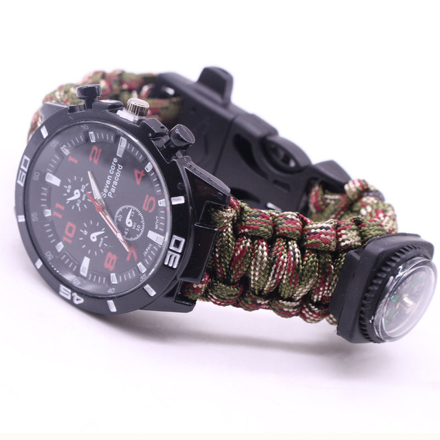 EDC Multi Tools Tactical Camouflage Outdoor survival watch bracelet compass Rescue Rope paracord Camping equipment(China)