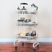 Kitchen Carts Wheeled Storage Rack Shelf Vegetable Floor Bathroom Shelf Storage