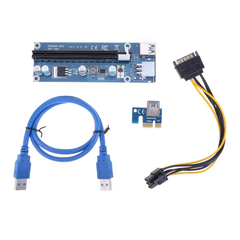 PCI-E PCI Express 1x to 16x Mining Machine Extender Riser Card Board Adapter 6Pin DC-DC Power Cable 60cm USB 3.0 Cables pci e to