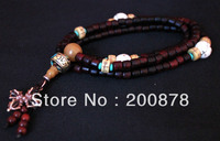 BRO982 Tibetan 108 beads big leaf red sandalwood prayer mala,6mm,conch shell Cross dorje maulet rosary necklace,Free ship