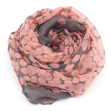 1PC 2017 HOT SALE Women Lady Spring Autumn Warm Soft Long Voile Neck Large Scarf Wrap Shawl Stole Pink Grey Dots Scarve Pashmina hot sale dot and tassels embellished voile scarf for women