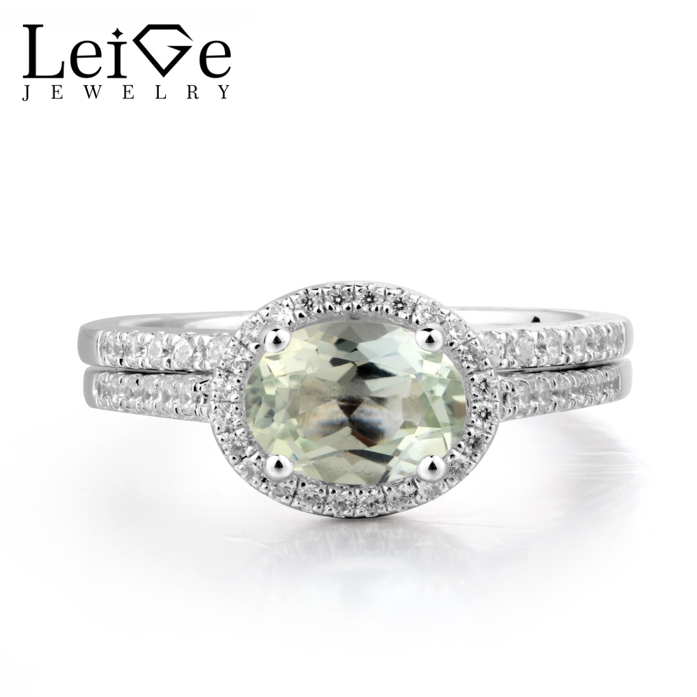 Leige Jewelry Genuine Natural Green Amethyst Ring Anniversary Ring Oval Cut Green Gemstone 925 Sterling Silver Bridal Sets Gifts leige jewelry solitaire ring natural green amethyst ring anniversary ring emerald cut green gemstone 925 sterling silver gifts