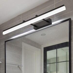 Современный настенный светильник в ванной, черный, серебристый, золотой светодиодный, растягивающийся, для помещения, спальни, зеркальный с...