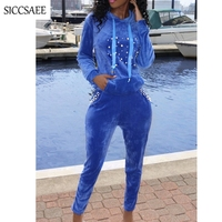 Blue Royal Two Piece Set Velour Tracksuit For Women Pearl Beaded Hoodies Long Pants Sweat Suit Velvet Outfits Pleuche Sexy Fall