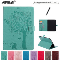 LIMELAN High Quality Cat Tree Pattern Stand PU Leather Case For Apple New IPad 9 7