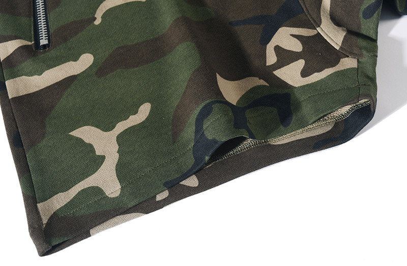 wycbk Camouflage Elastic Waist Mens Shorts 2018 Summer High Street Terry Material Camo Shorts Men Cotton