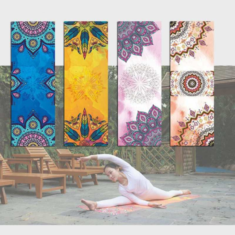Issue Printed Pattern Yoga Mat Towel Sport Fitness Gym Exercise Pilates Workout Portable Training Cover Blanket Soft Towel