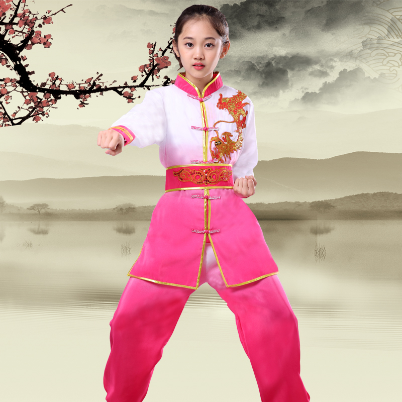 Children Traditional Wushu Uniform Suit For Kids Tai Chi Clothing Martial Art Uniform Children Long Sleeve Taekwondo Costume