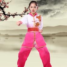лучшая цена Children Traditional Wushu Uniform Suit for Kids Tai Chi Clothing Martial Art Uniform Children Long Sleeve Taekwondo Costume