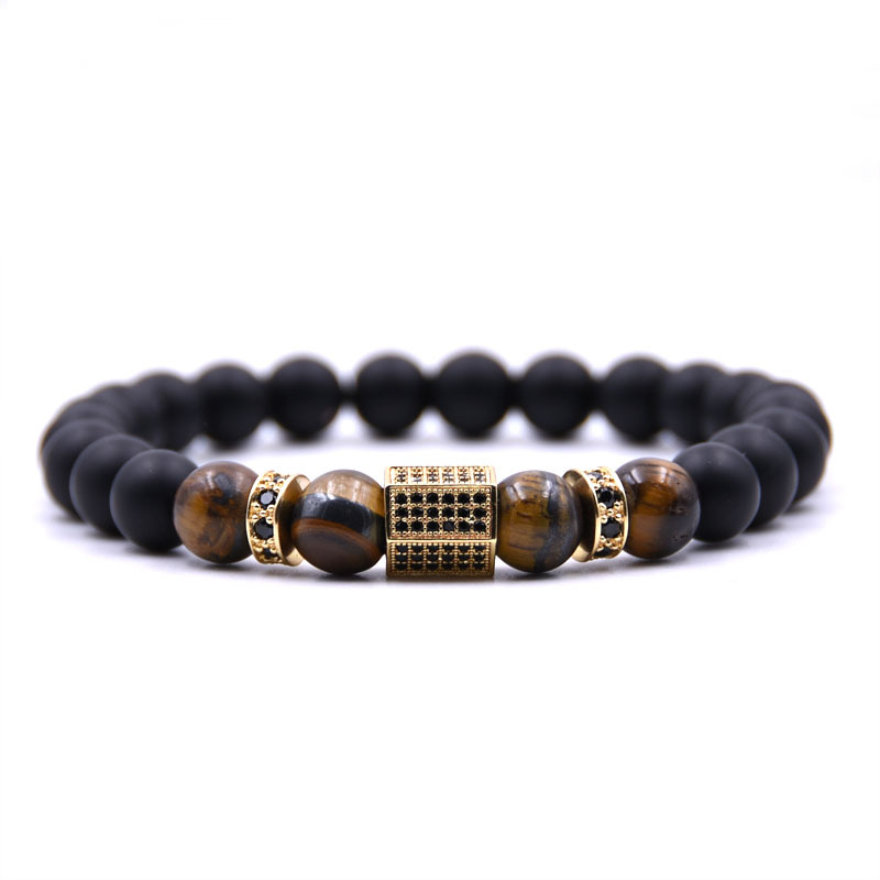 Hot Micro Inlaid Zircon Men Hexagonal Natural Stone Bracelet Tiger's Eye Volcanic Stand Bracelet Women Handmade Jewelry