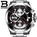 2017 Homens Relógios Top Marca de Luxo BINGER Grande Dial Designer Cronógrafo Resistente À Água relógios de Pulso de quartzo inoxidável B-9016-3