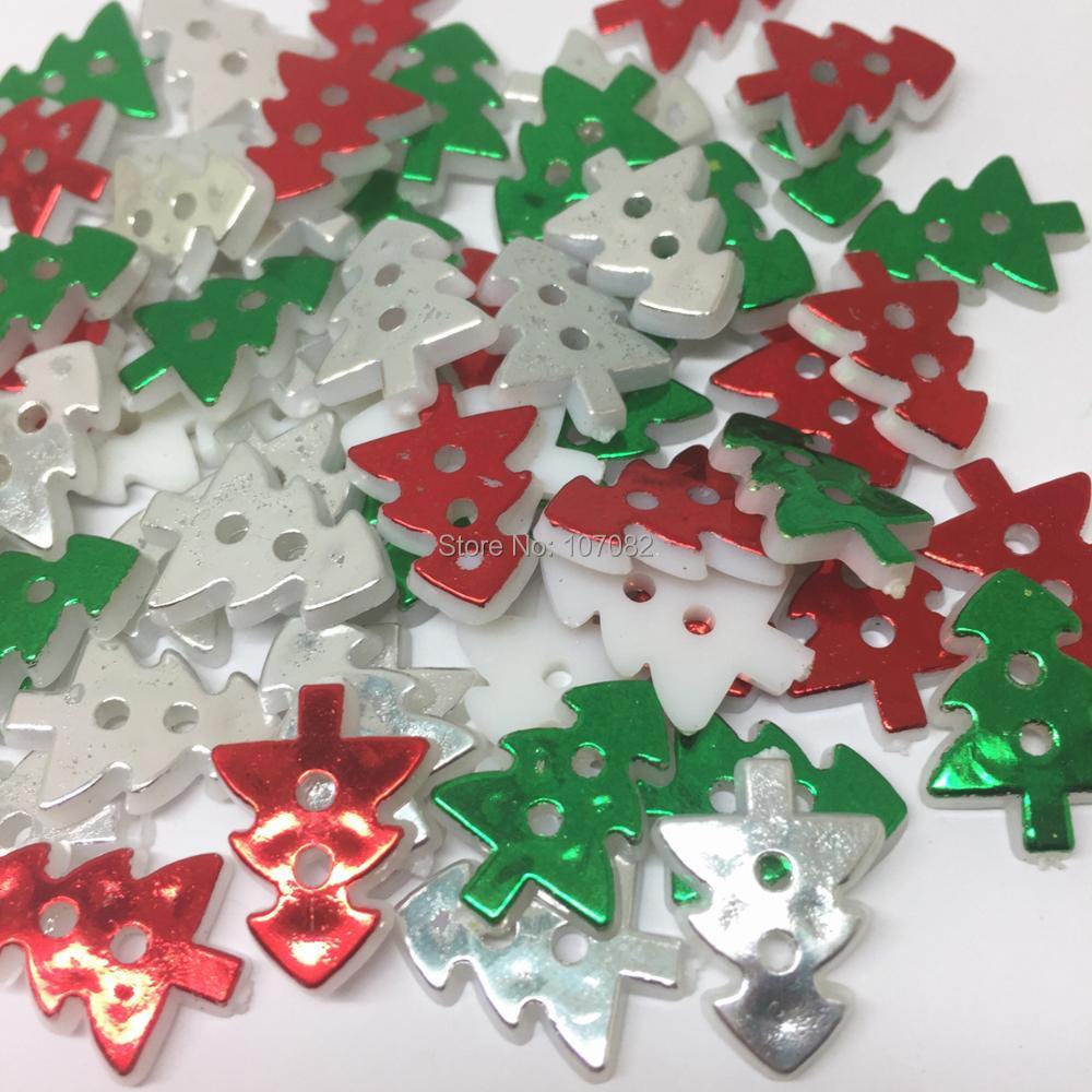 Button Christmas Trees: 300pcs Christmas Mixed Metallic Christmas Tree Buttons