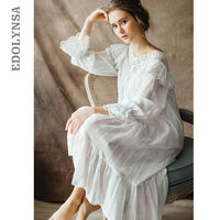 Women's Vintage Gothic Victorian Night Dress White Cotton Flare Sleeve V Neck Lace Embellished Ruffle Hem Autumn Nightgown T29