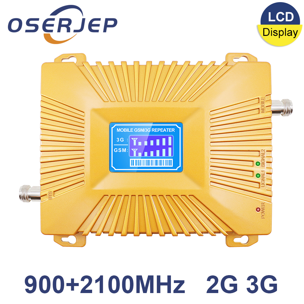 OSERJEP 3g gsm repeater Dual Band 900 2100 GSM 3G 900MHz 2100MHz Repeater Mobile Cell Phone