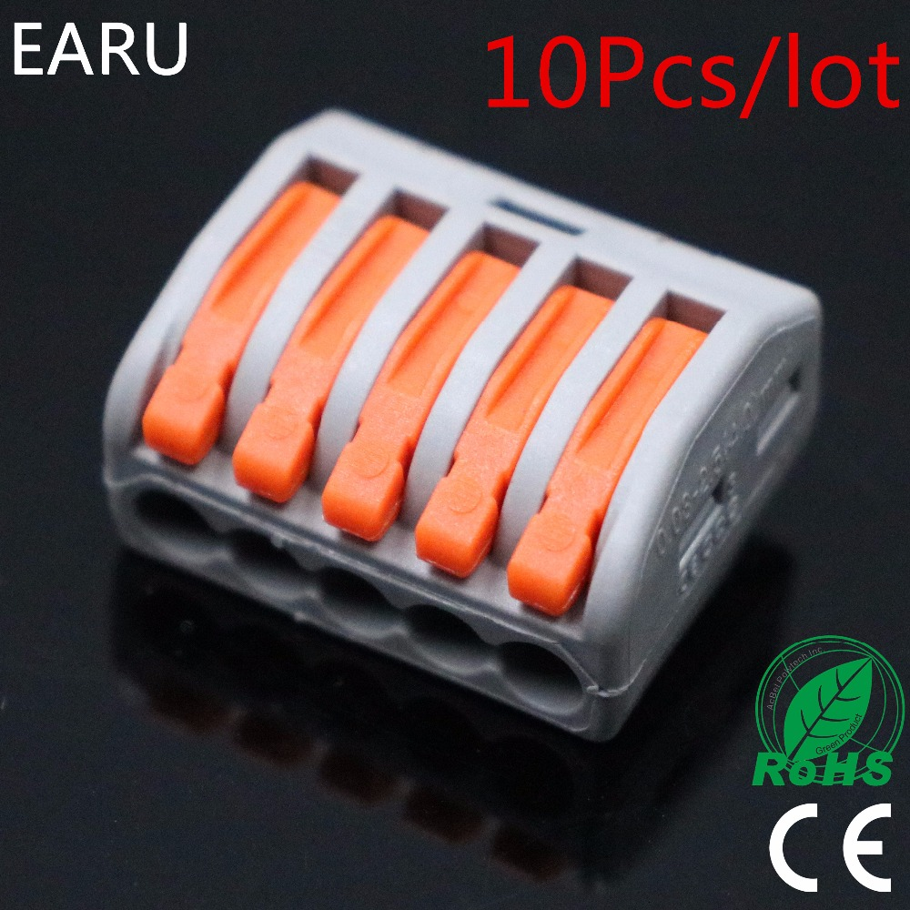 10Pcs/lot WAGO 222-415 PCT-215 PCT215 Universal compact wire wiring 5 Pin connector conductor terminal block lever 0.08-2.5mm2 цена