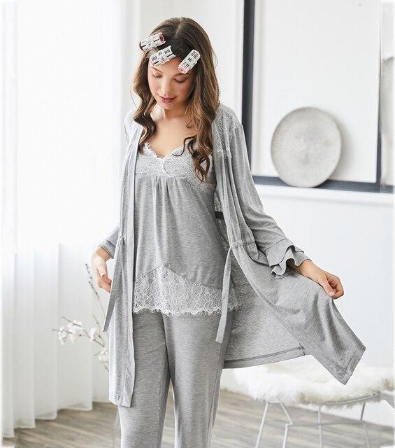 Set 3 Piece Sweatshirt + Pants + Robes Pyjama Sets Sleepwear 2