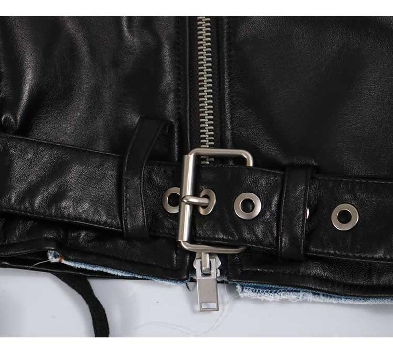 Automne Court Pu En Picture Survêtement Cuir As Denim Longues Spliced zoux Hiver Manches Z Jeans Femmes Manteau Veste gwx6ST8vqR