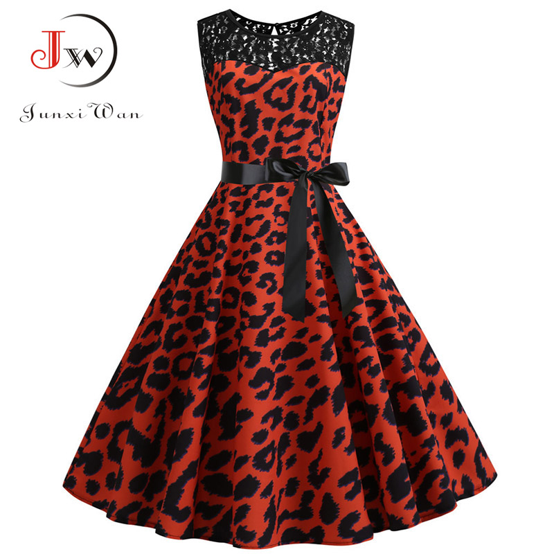Lace Patchwork Floral Print Women Summer Dress Hepburn 50s 60s Elegant Vintage Dress Office Ladies A-Line Party Dresses Belt 5
