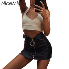 NiceMix 2017 Sexy Skirt Women Black PU Skinny Pencil Skirts High Waist With Zipper Casual Leather Womens Saia