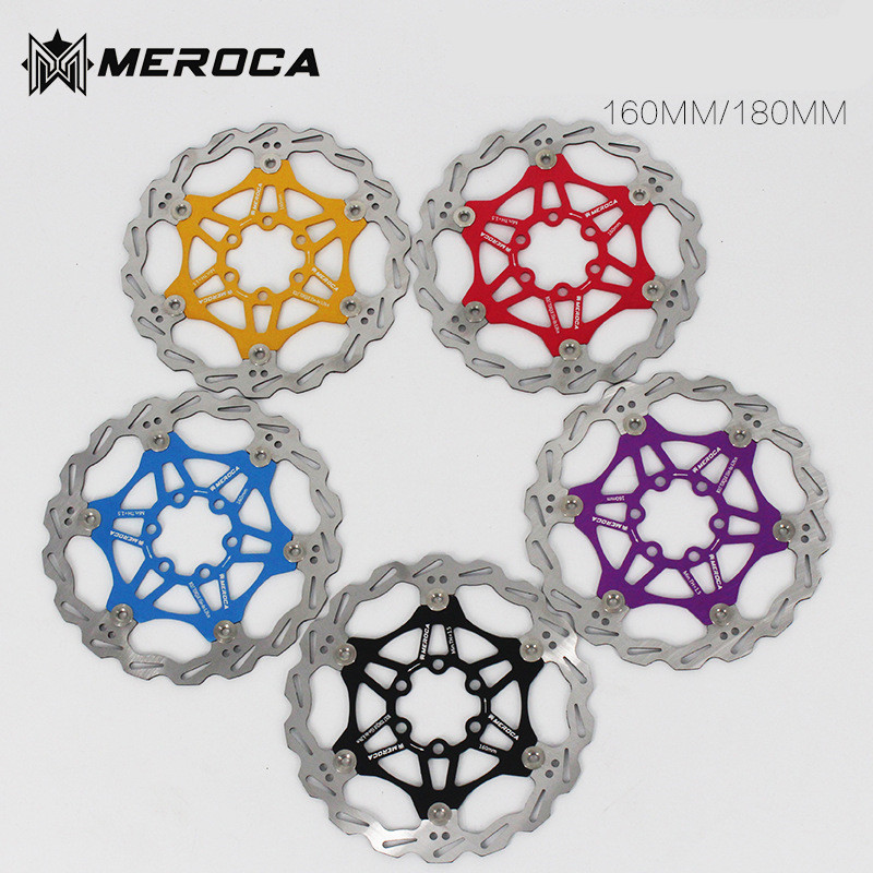 цена на MEROCA MTB Mountain bike floating disc Bicycle brake pads Six nails Brake disc 180 160MM 203