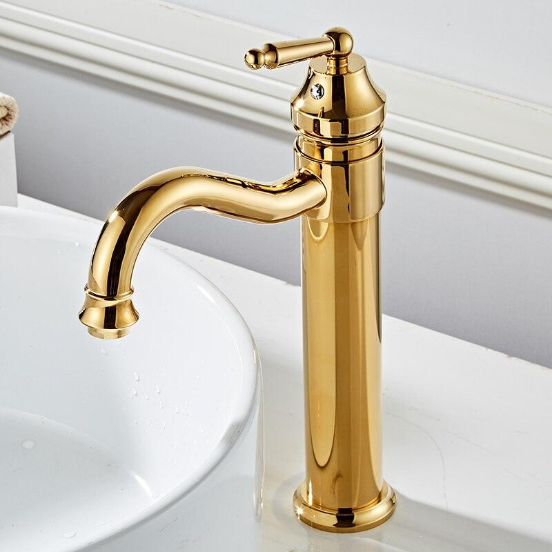 Tall High Bathroom Basin Faucets Golden Finish Mixer Taps Single Hole Sink Faucet HOT&COLD WATER WashbasinTorneira BanheiroTall High Bathroom Basin Faucets Golden Finish Mixer Taps Single Hole Sink Faucet HOT&COLD WATER WashbasinTorneira Banheiro
