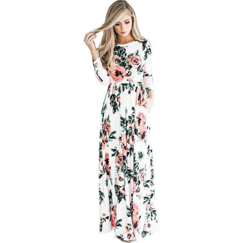 7bf0d93e7676 Women summer dresses 2018 new summer long sleeve elastic waist flower print  floor length maxi dress