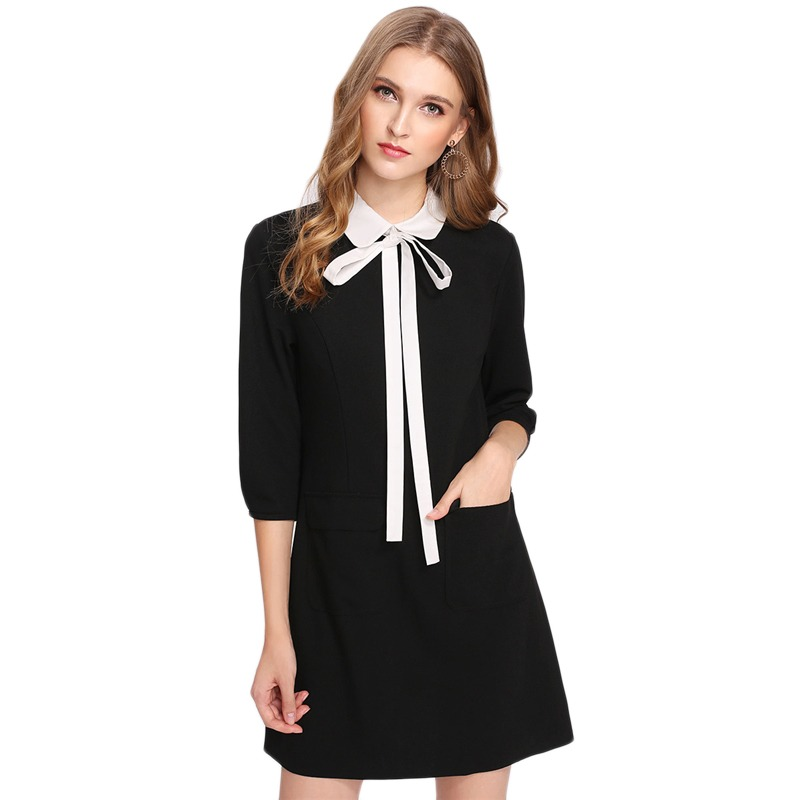 a39519b1462 Dotfashion Black Contrast Tied Collar Pocket Detail Dress 2019 Autumn  Ladies 3 4 Sleeve Spring