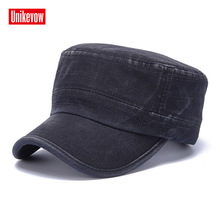 UNIKEVOW  Cotton Army Cap Sport Embroidered Flat top Hat for men and women Military cap