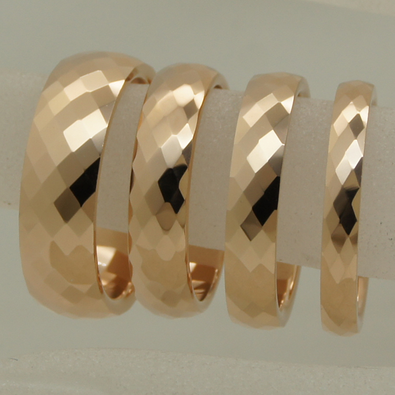 3mm width rare women/girl rose gold plating multi facet tungsten ring size 2-ring size 10