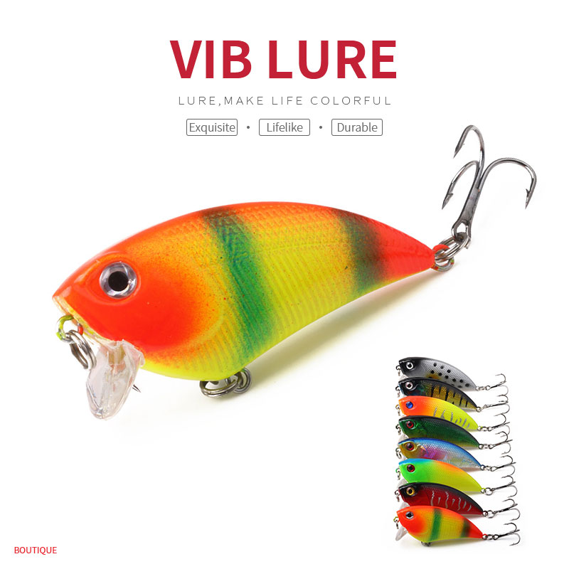 HENGJIA 1PC Artificial Plastic VIB Fishing Lure 5.5CM-6.6G Diving 0.3-0.9M Crankbaits Vibration Fishing Tackle
