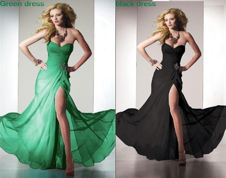 Livraison gratuite 2015 nouvelle robe vert noir cristal perlé jambe ouverte sexy vestido de noiva chérie fête robe de soirée taille personnalisée