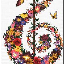 Flowers Music DIY Needlework 14CT DMC Counted Cross Stitch K