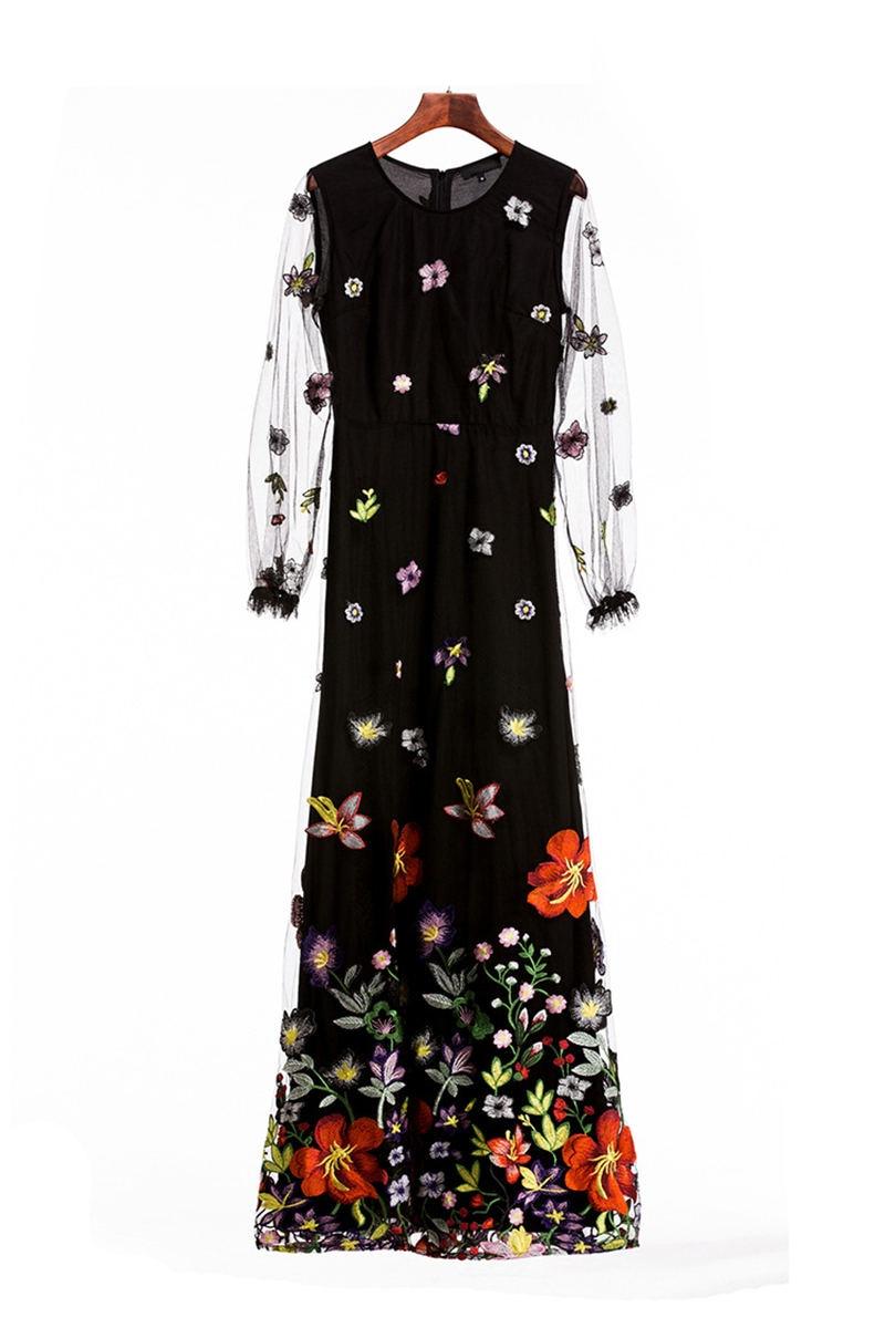HTB1XjK.i46I8KJjSszfq6yZVXXaq - 2018 Spring High Quality Mesh Floral Embroidery Long Dress Full Sleeve Vintage Flower Black Runway Designer Maxi Women Desses