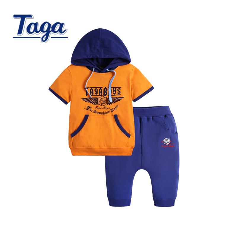 Kids Boy ClothesTAGA 2016 Summer Clothing Sets Kids Pants + Top Children's Clothing Sets Baby Boys Clothes Big crotch pants drop crotch loose two tone pants