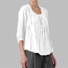 Блузка женщины блузки женщина 2019 s-размер 3XL Tunique роковой белая блузка плюс размер o-образным вырезом свободного покроя нерегулярные Хем   Z4 в аренду
