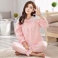 Global Envío Libre Cordón de La Princesa de Manga Larga Tejida 100% ropa de Dormir de Algodón Gruesa Salón Pijamas de Las Mujeres Pijamas Set Pijamas Set