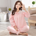 Global Shipping Princess Lace Long-Sleeve Women Pajamas Woven 100% Cotton Sleepwear Thick Lounge Pajamas Set Pyjamas Set