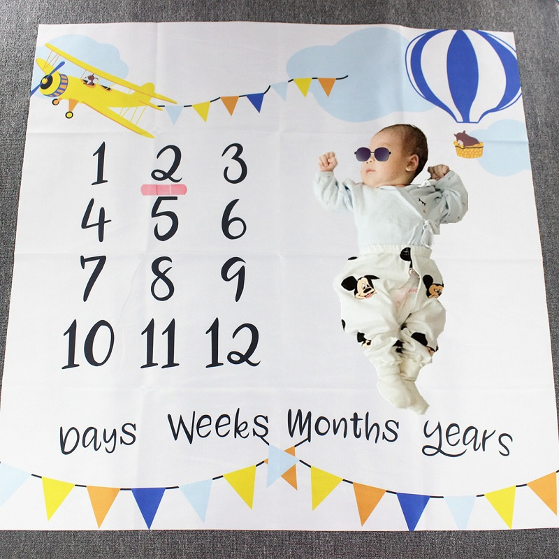 Cartoon Infant Portray Blanket Milestone Photo Props Background Blankets Baby Play Mats Backdrop Calendar Photo Accessories