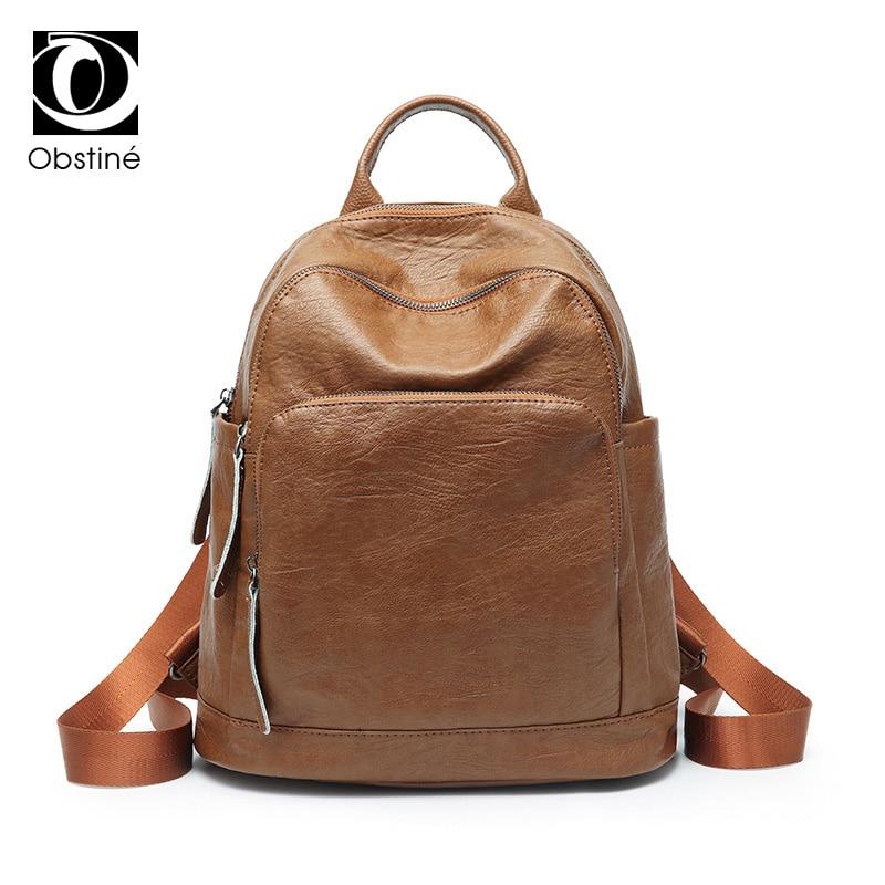 Vintage Women Backpack High Quality PU Leather Waterproof Backpacks for Teenage Girls Female School Shoulder Bag Bagpack mochila