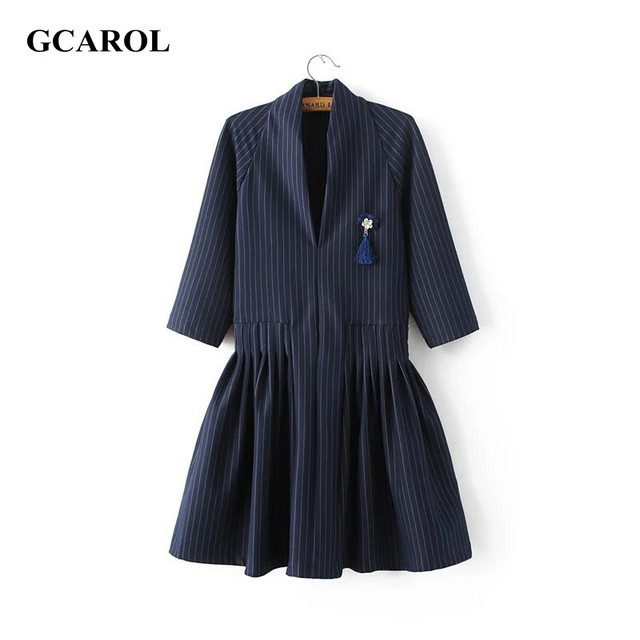 Women New Arrival V-neck Striped Dress With A Brooch 3/4 Sleeve Elegant OL Dress Fit And Flare Vintage Plus Size XL Dress