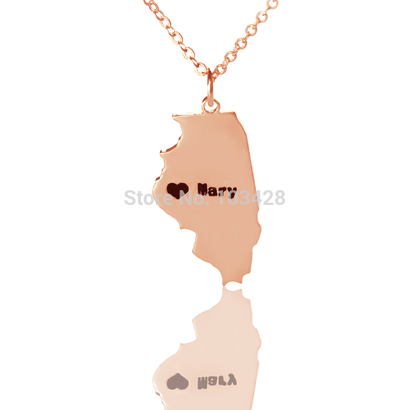 AILIN Custom Illinois State Shaped Charm USA Map 925 Silver Necklaces State Necklaces Personalized State Of Pendent Necklaces