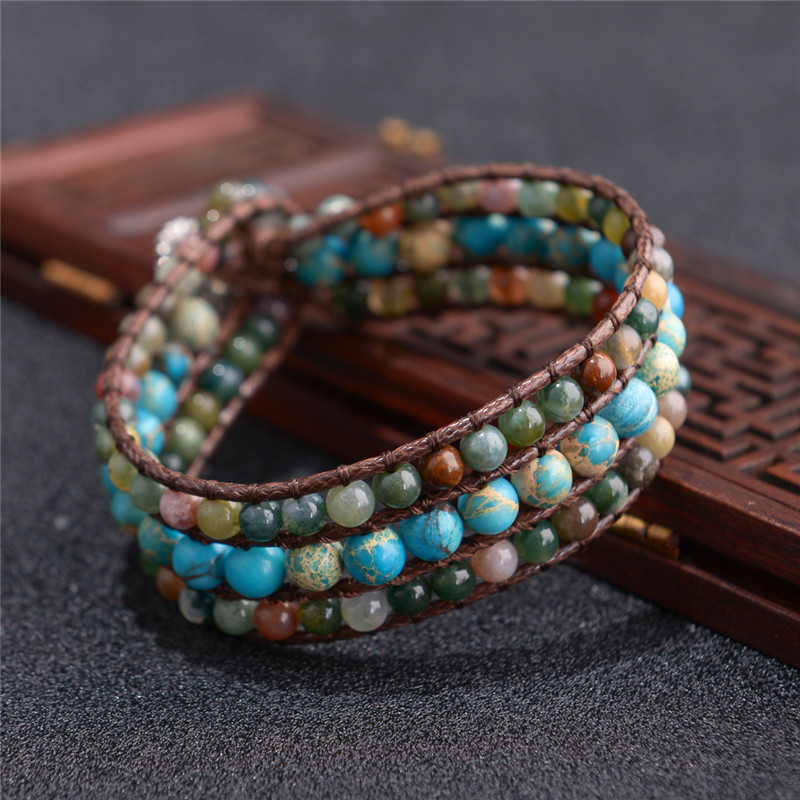 High End New Three layer Bracelet Natural Stones Leather Wrap Bracelets Cuff Bracelet Jewelry Dropshipping Gifts For Girls