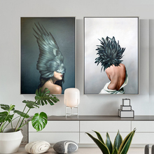 WANG ART Large Size Black Feather Girl Oil Painting Awakening Canvas Poster Print Nordic Decoration Wall Picture for Living Room