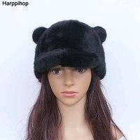 Cute cartoon fur hat fashion lady mink knight hat winter warm bear cap