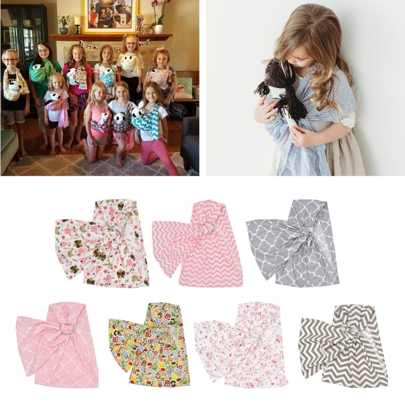 Baby Doll Carrier Toy Ring Sling Mei Tai Sling Toy For Kids Children Toddler Gift Stripes Flowers 7 Choices