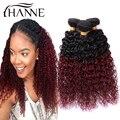 Малазийский ломбер вьющиеся волосы 1b # 99j темный корень бордовый конец 2 тон цветные Ханне kinky вьющиеся 3 связки красный человеческих волос, плетение волос
