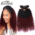 Malaysian ombre curly hair 1b#99j dark root burgundy end 2 tone colored kinky curly 3 bundles red human hair weave Hanne hair