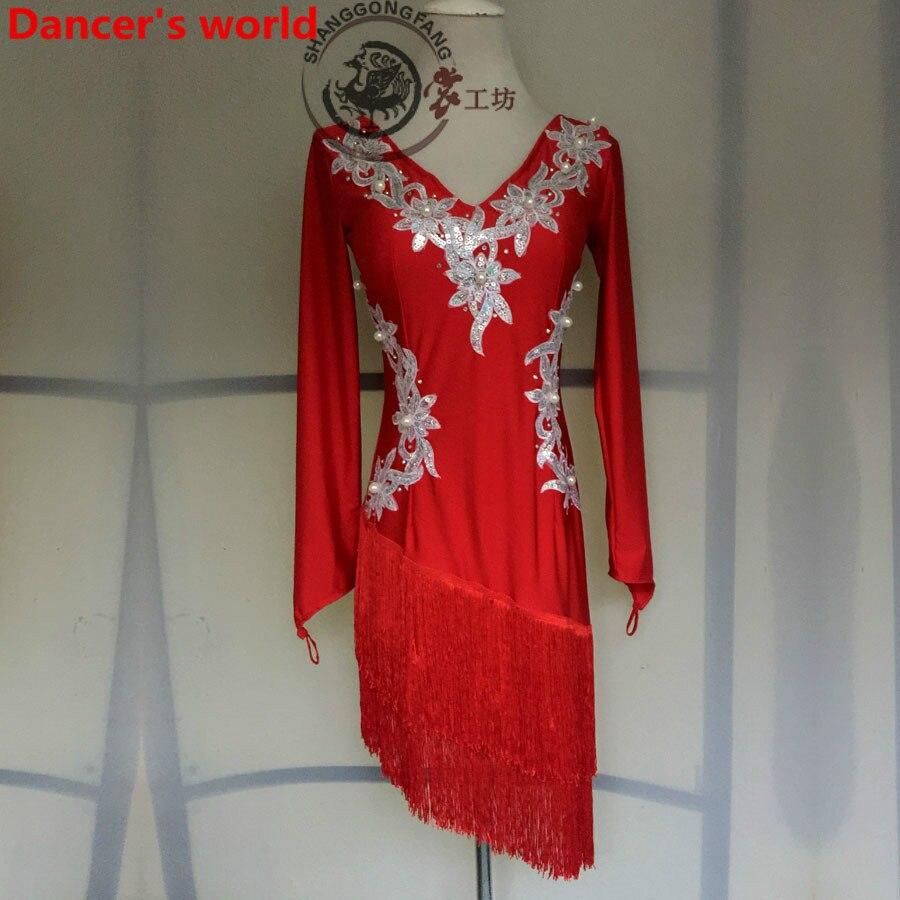 2017 New Latin Dance Dress Women Double V Opening Salsa Samba Tango Ballroom Competition Costume Lady Practise/Competition Dance