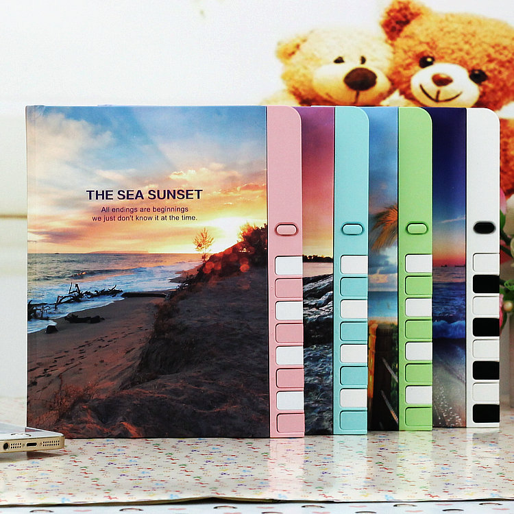 mercii new arrival korea stationery pad color page lock the prize children notebook diary kawaii notepad secret student diary